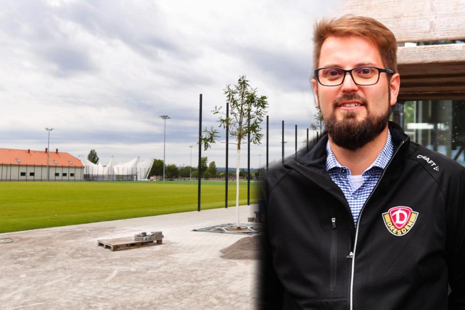 Sven Hartmann ist der Technische Leiter der Dynamos für das Projekt. Neben ihm fällt der Blick über die neuen Rasenplätze, auf denen Profis und Junioren der Dynamos schon bald trainieren werden.