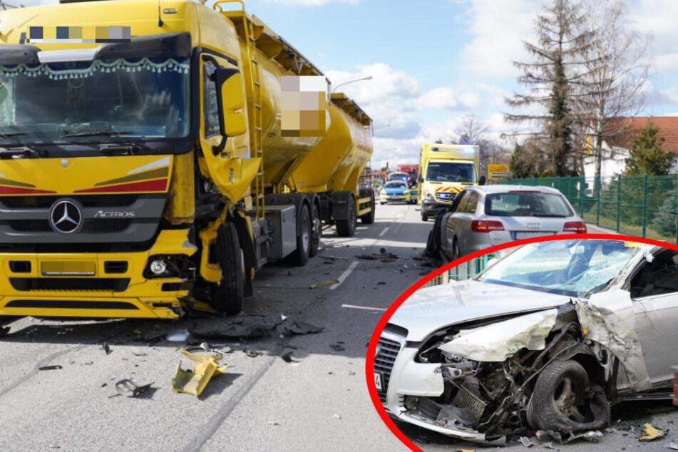 Heftiger Unfall in Bautzen: Audi kracht mit Lkw zusammen!