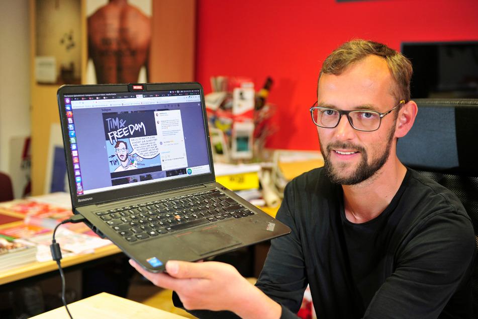 Verwechslungsgefahr ausdrücklich erwünscht: Tim Detzner (42), Bundestagskandidat für die Linke, macht Wahlkampf als Protagonist seines eigenen Comics.