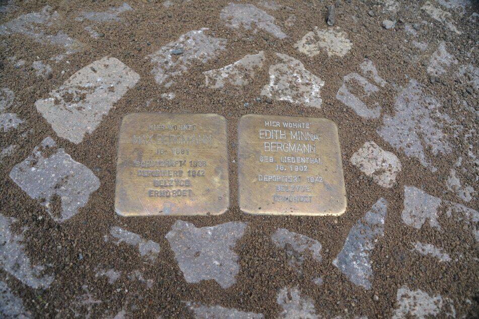 Die Stolpersteine für Edith Minna und Max Bergmann liegen nun richtig vor der Naunhofer Straße 57.