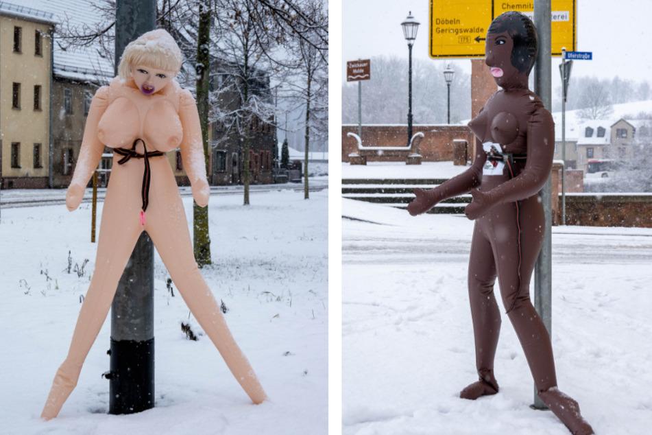 Mitten in Sachsen: Zwei nackte Sexpuppen an Bundesstraße festgeschnallt