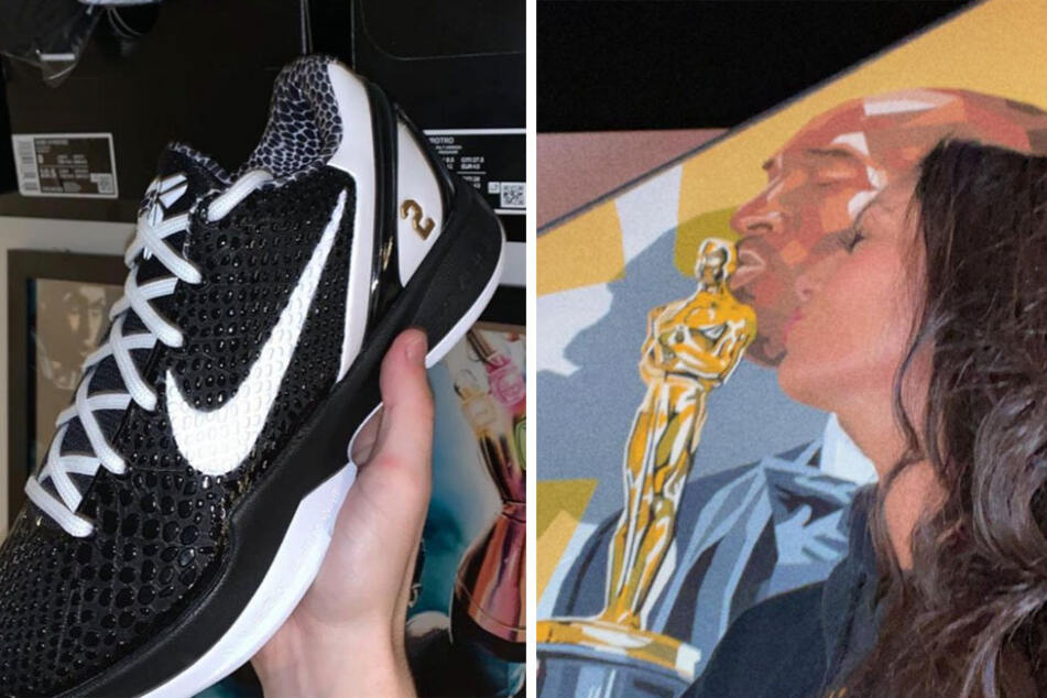 Vanessa Bryant helped design the MAMBACITA shoe with Nike (l.) in honor of her late daughter Gigi, but never approved them for sale. An artist recently honored her and her late husband (r.).