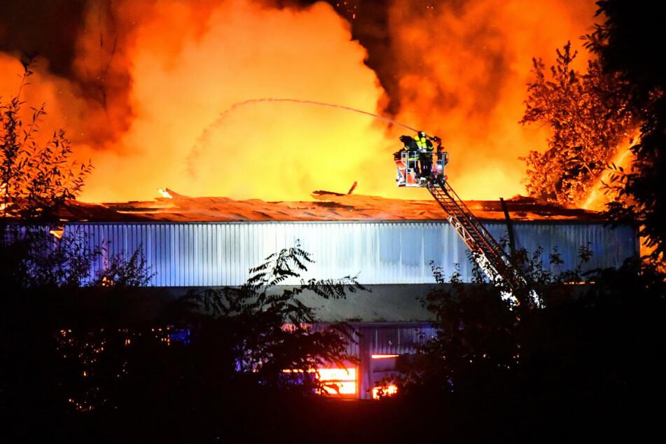 Mehrere Explosionen! Flammenmeer in Lagerhalle löst Großeinsatz aus
