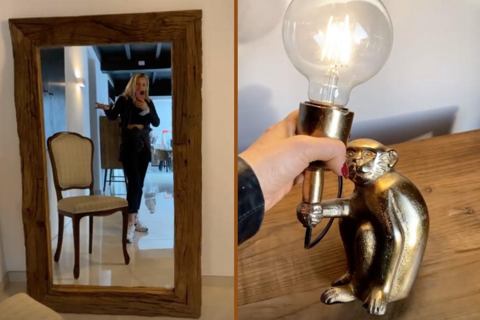 Ein großer Spiegel mit rustikaler Holzrahmung und eine lustige Äffchenlampe zählen zu den absoluten Lieblingsstücken der gebürtigen Polin.