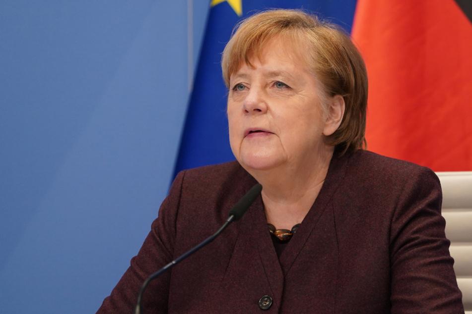 Bundeskanzlerin Angela Merkel nimmt vom Kanzleramt aus virtuell an einer Videokonferenz des Weltwirtschaftsforums teil.