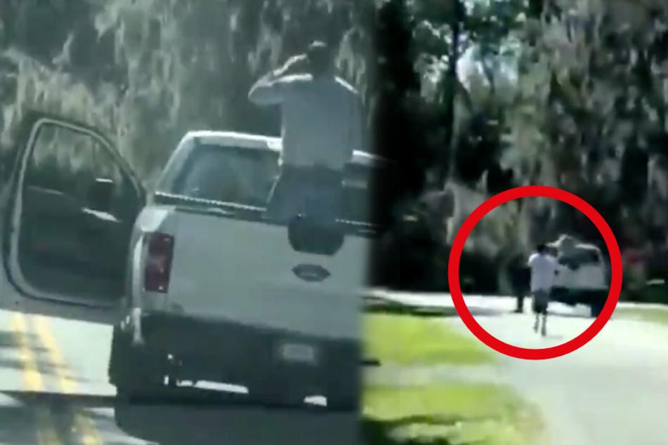 Auf dem Bild sieht man den Jogger (rechts) nichtsahnend im Park laufen. Doch sobald er den Pick Up erreicht, fallen Schüsse. Der Vater positionierte sich auf der Ladefläche (links).