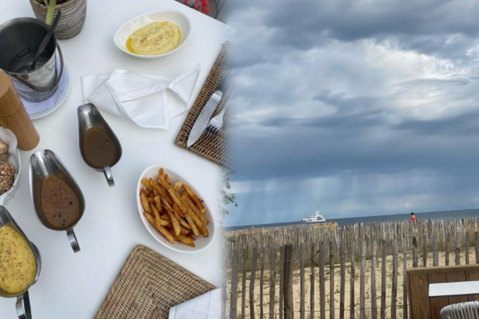 Robert Geiss (56) genießt mit Gattin Carmen (55) eine deftige Mahlzeit an der Küste Frankreichs. (Fotomontage)