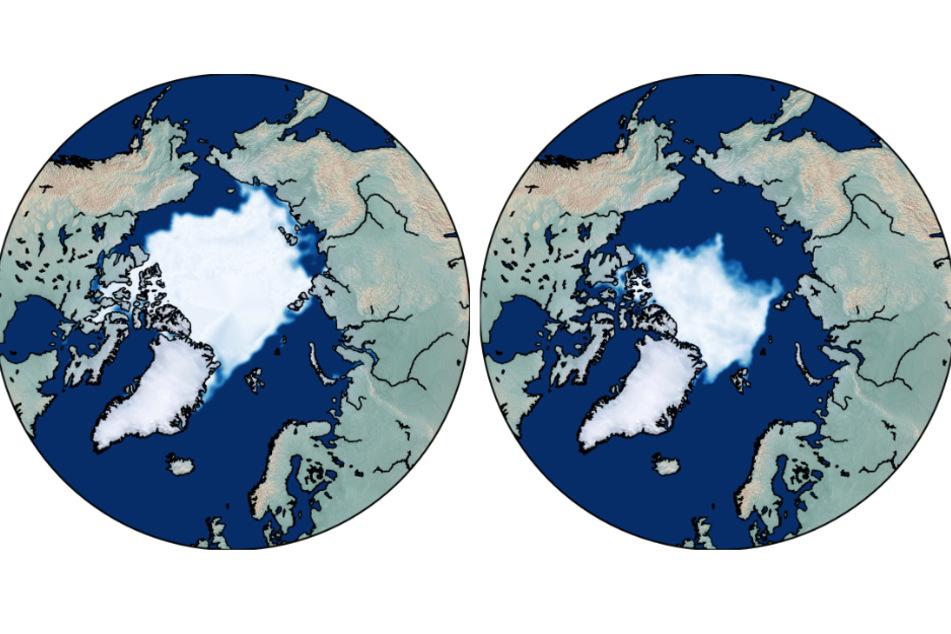 Die grafische Darstellung zeigt die Meereisfläche in der Arktis zum Ende des arktischen Sommers im September 1979 (links) und im September 2019.
