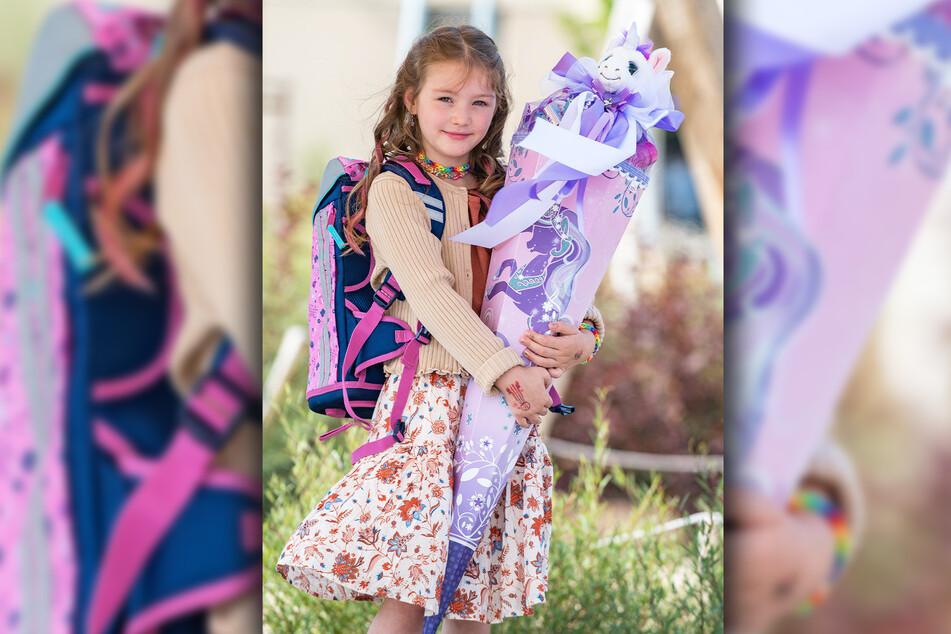 Leony (6) trug stolz ihren neuen Ranzen und ihre wunderschöne Zuckertüte heim.