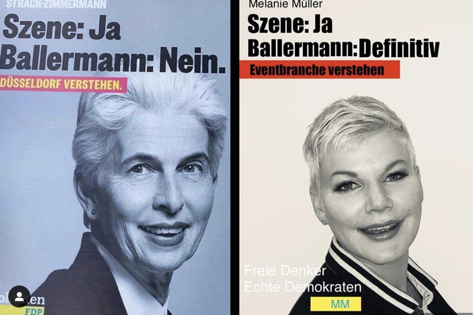 Dieses eigens kreierte Wahlplakat postete Melanie Müller (32) neben das originale von Strack-Zimmermann.