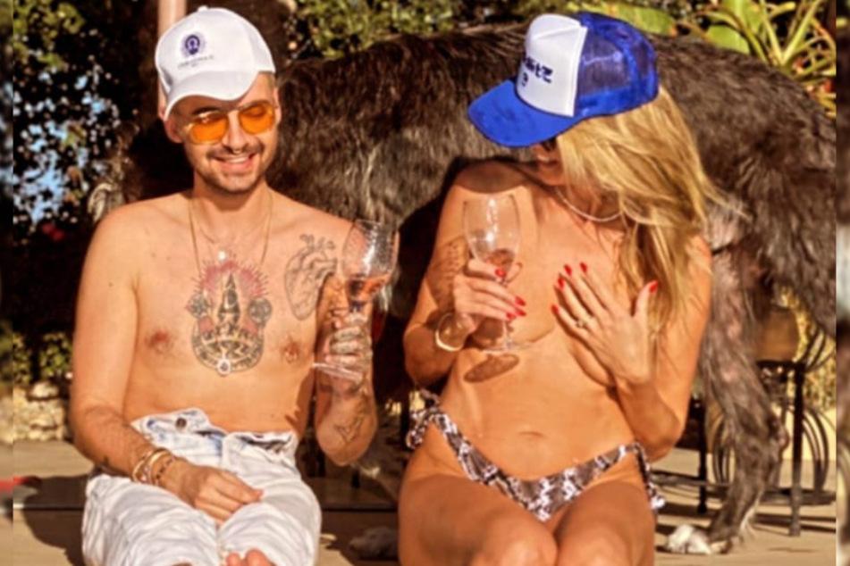 Heidi Klum (47) und Schwager Bill (31) relaxen bei einem Gläschen Wein im heimischen Pool.