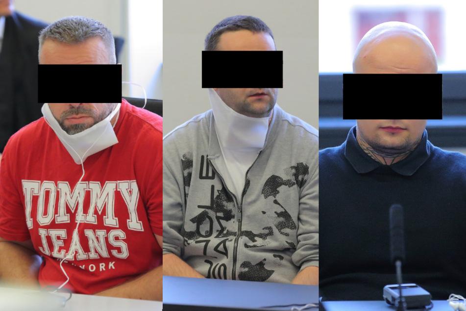 V.l.n.r.: Martin M. (42), Martin K. (36) und Michael Z. (24) sind wegen schweren Bandendiebstahls angeklagt.
