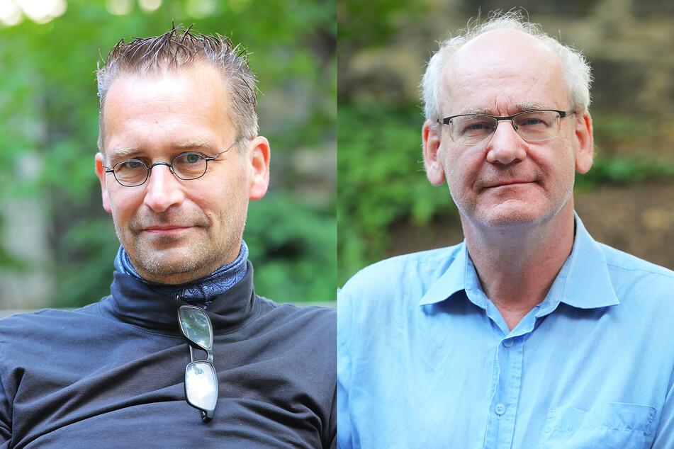 V.l.: Martin Schulte-Wissermann (49, Piraten) und Johannes Lichdi (56, Grüne).