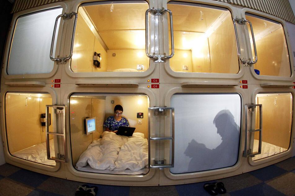 Im Fernen Osten - wie hier in Shanghai - ist diese platzsparende Reiseunterkunft bereits Normalität.