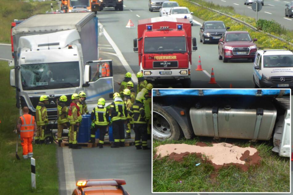 Laster kommt von A72 ab: 800 Liter Diesel drohten auszulaufen
