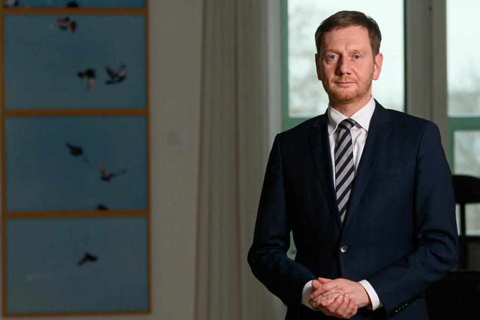 Sachsens Ministerpräsident Michael Kretschmer (45, CDU) in seinem Arbeitszimmer in der Staatskanzlei Dresden. (Archivbild)