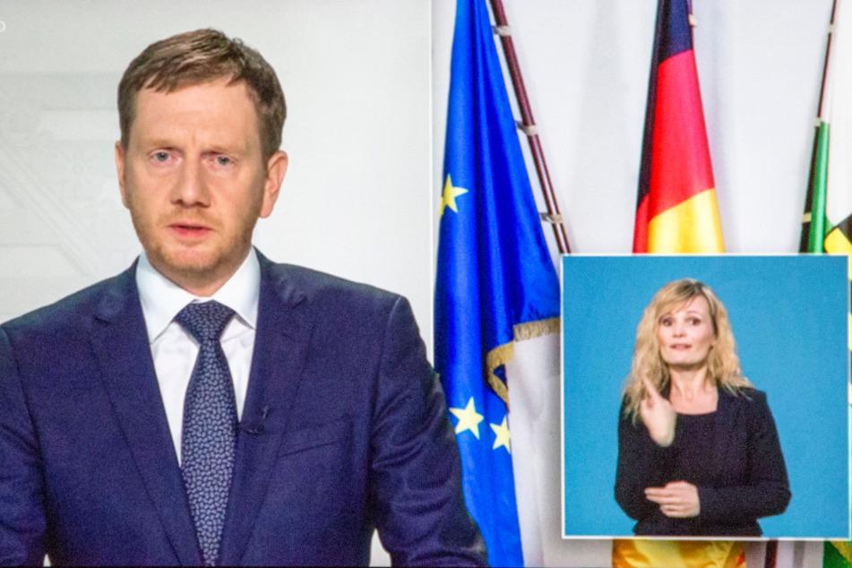 In einer Fernsehansprache schwor MP Michael Kretschmer (44, CDU) die Sachsen auf schwierige Zeiten ein. Ihm zur Seite: Carla Vogel (41).
