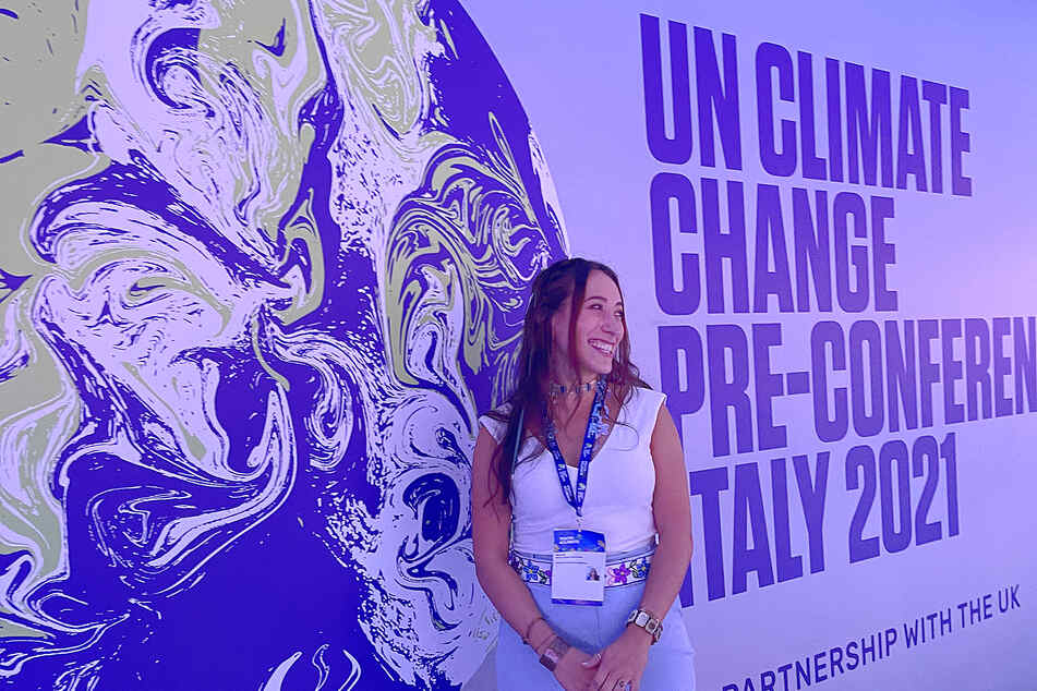 Ruth Łchav'aya K'isen Miller at the 2021 youth4climate conference in Milan.