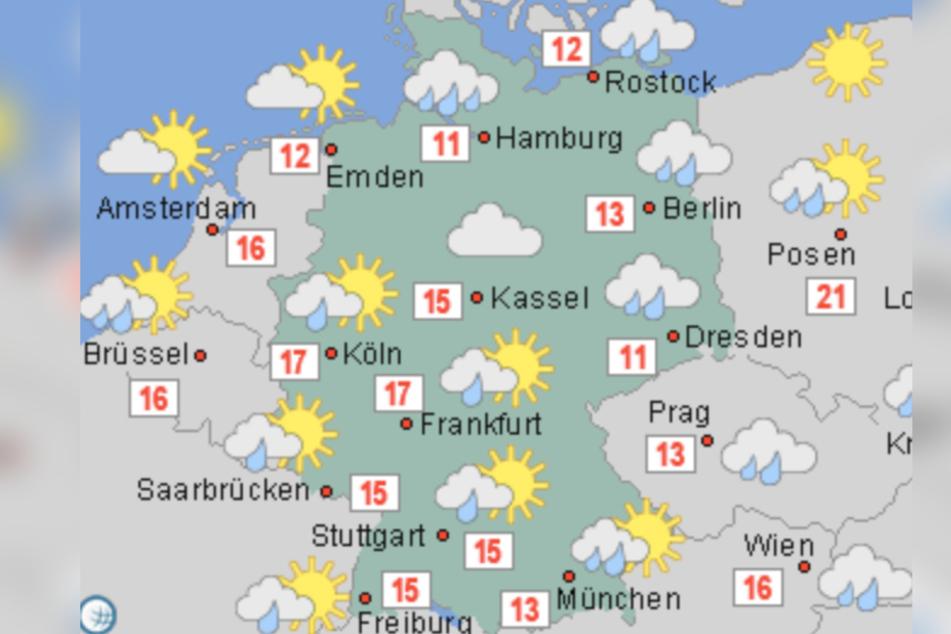 Die Karte zeigt: Die Temperaturen sinken am Donnerstag vor allem im Osten, Norden und Süden. Zudem wird es vor allem regnerisch.