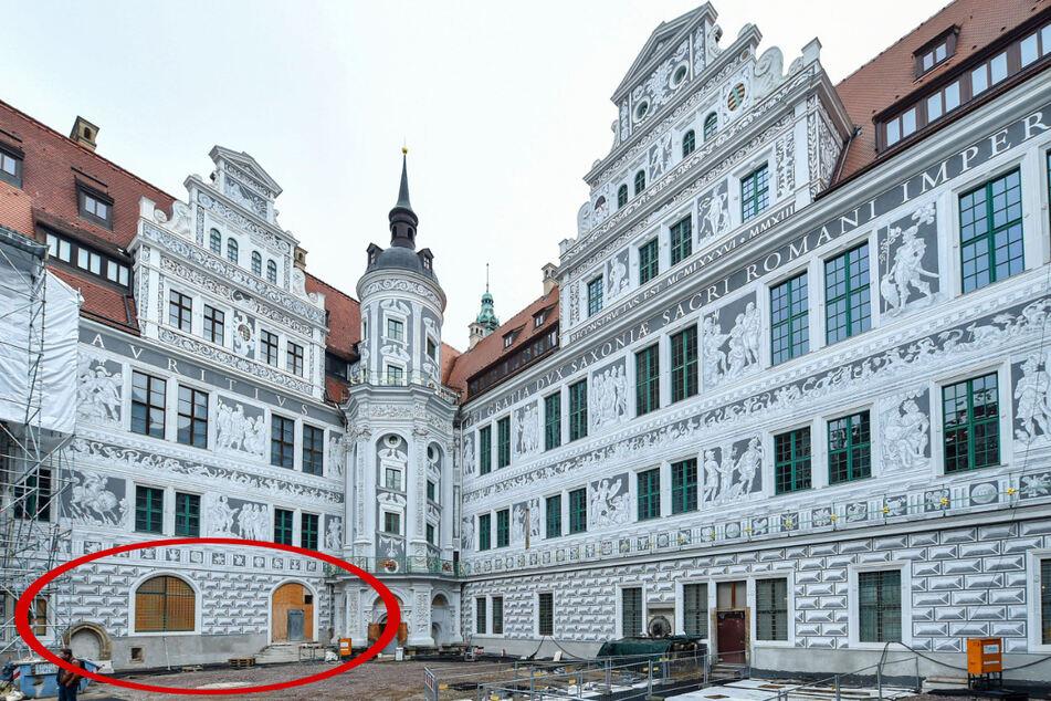Der Große Schlosshof. Im roten Kreis der künftige Haupteingang des Restaurants. Behinderte kommen durch einen Nebeneingang. Vor dem Restaurant sollen im Sommer Tische aufgestellt werden.