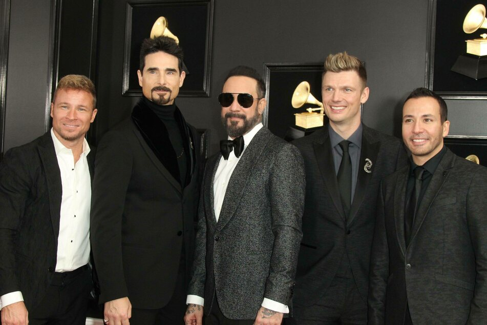 From l. to r.: Howie Dorough, AJ McLean, Brian Littrell, Kevin Richardson, Nick Carter, at the 2019 Grammy Awards.