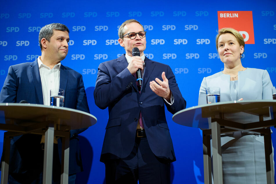 Franziska Giffey und Raed Saleh (l.) sollen dann den langjährigen Parteivorsitzenden Michael Müller ablösen