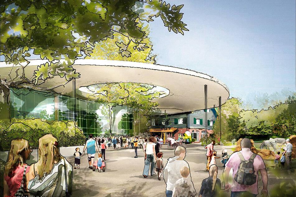 """Der Eingangsbereich des Kölner Zoos soll laut dem Masterplan 2030 neu gestaltet werden. Unterstützt wird das Vorhaben vom Planungsbüro """"Zooquariumdesign""""."""