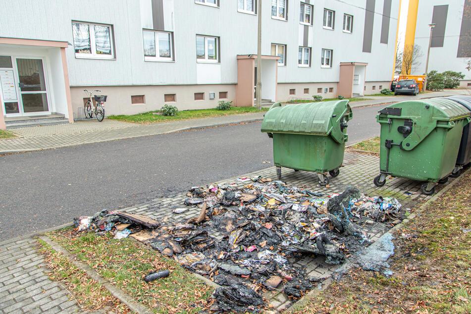 War es Brandstiftung?: Altpapier-Container geht in Flammen auf