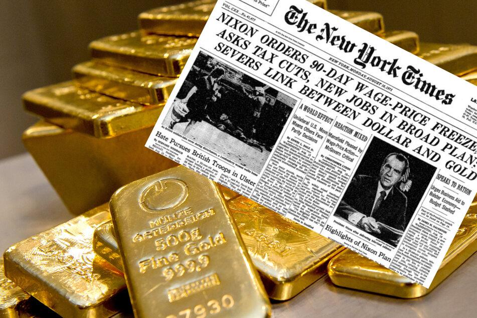 """Mit seiner Fernsehansprache am 15. August 1971 löste US-Präsident Richard Nixon einen Schock auf den weltweiten Finanzmärkten aus. Obwohl er das Goldfenster nur """"zeitweilig"""" schließen wollte, brach das bisherige System aus festen Wechselkursen für immer zusammen. (Bildmontage)"""