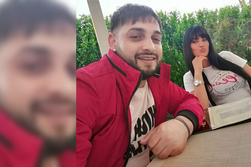 Tavy (29) und seine Frau (24) machen ein Selfie.
