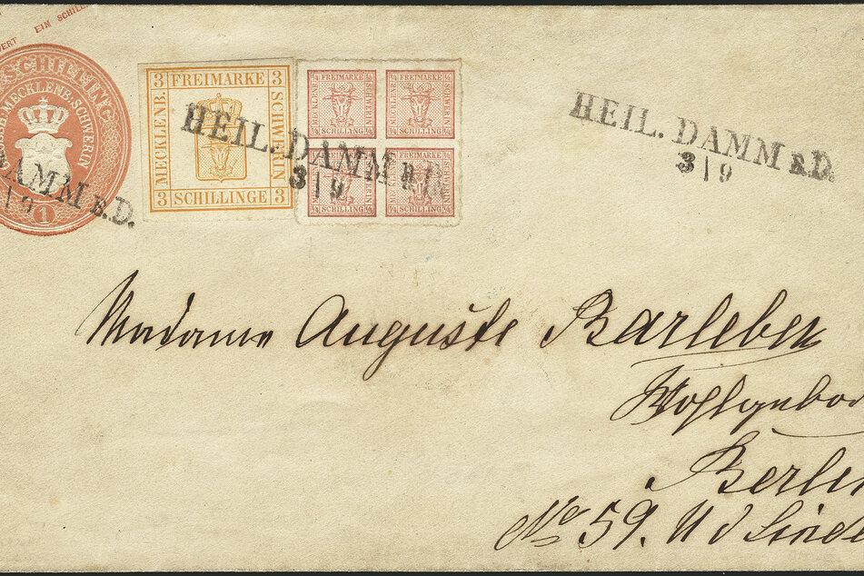 Der Briefumschlag aus dem Ostseebad Heiligendamm, adressiert an Madame Auguste Barleben in Berlin, gehört zur Briefmarkensammlung des ehemaligen Tengelmann-Chefs Haub.