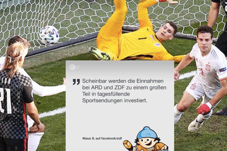 """Klaus ist besorgt: """"Scheinbar werden die Einnahmen bei ARD und ZDF zu einem großen Teil in tagesfüllende Sportsendungen gesteckt."""""""