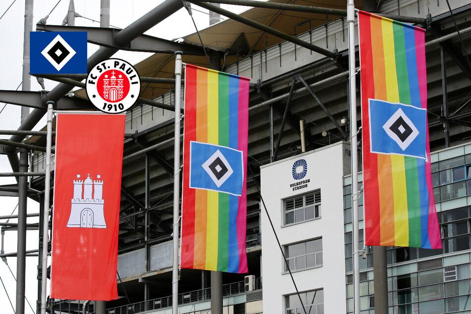 HSV und FC St. Pauli lassen Regenbogenfahnen am Stadion wehen!