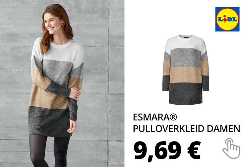 ESMARA® Pulloverkleid Damen, Longform, aus Grobstrick