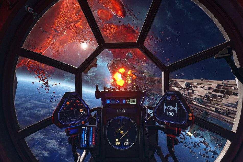 """In """"Star Wars: Squadrons"""" sollen wir X-Wing- und Tie-Fighter steuern, wie wir es uns schon immer erhofft haben."""