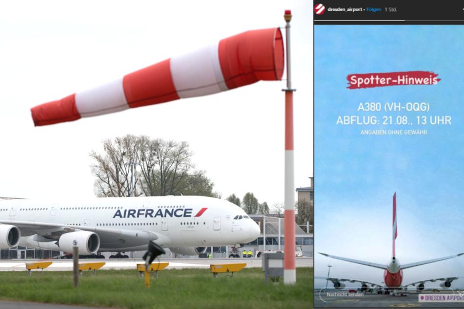 Dresden: Aero extrem: Airbus A380 hebt am Dresdner Flughafen ab