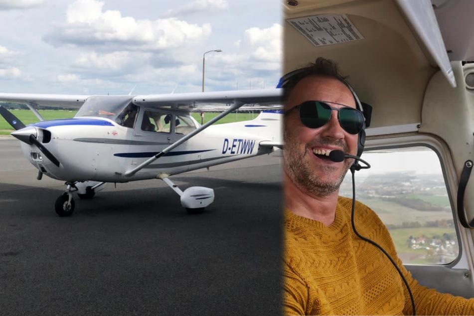 Allein in der Luft: Radiomoderator Silvio Zschage (41) dreht stolz die ersten Runden überm Flugplatz.