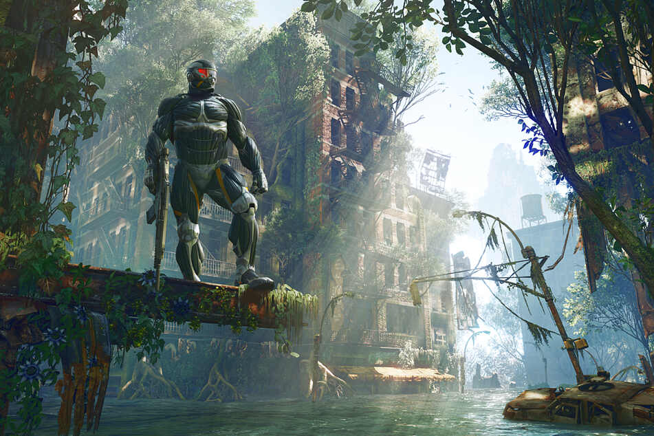 """Crysis 3 puts you into an overgrown husk of New York, and the game's visuals include the hallowed """"god rays""""."""