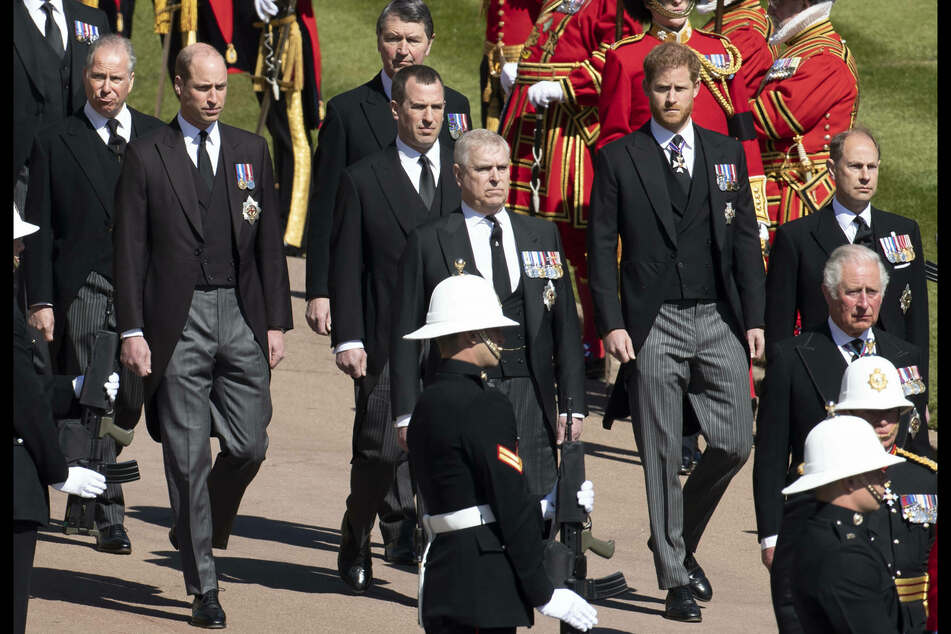 Prince William and Prince Harry stood apart during the procession for Prince Philip's funeral.