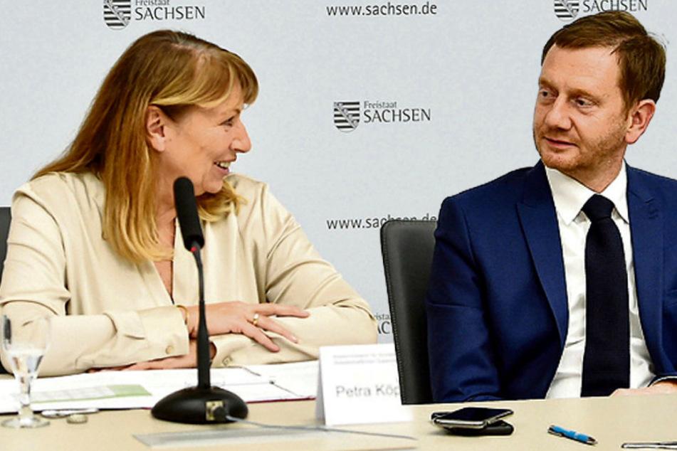 Gesundheitsministerin Petra Köpping (62, SPD) und Ministerpräsident Michael Kretschmer (45, CDU).