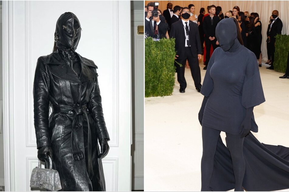 Kim Kardashian sported similar all-black full-body outfits during Fashion Week (l.) and The Met Gala.