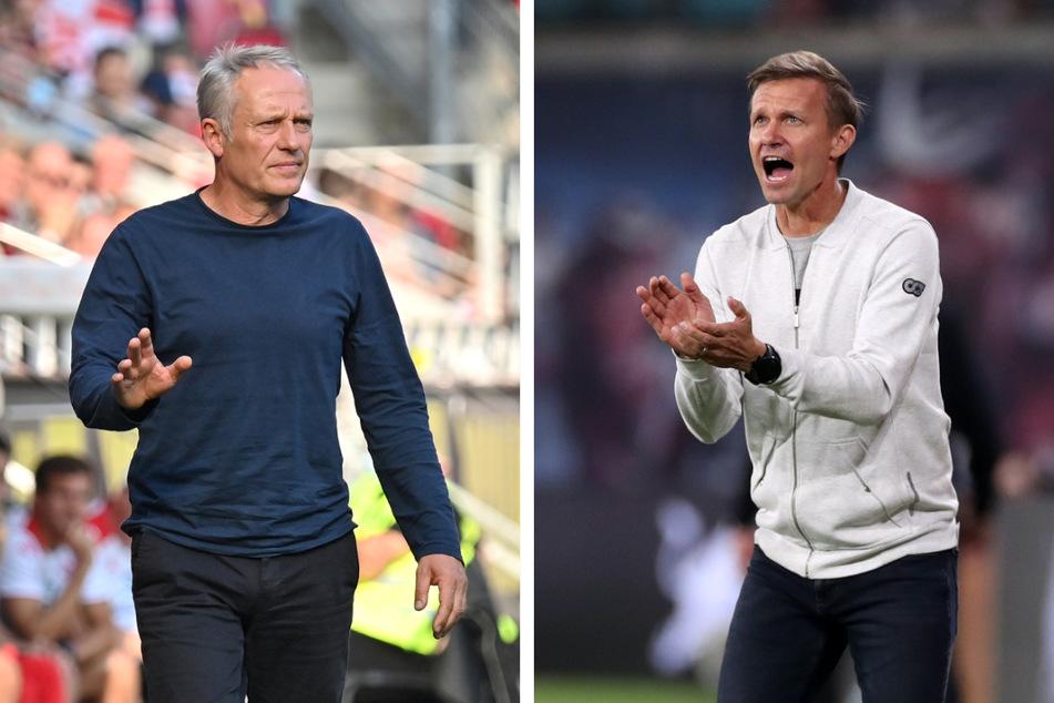Jesse Marsch (47, r.) fordert von seiner Mannschaft die beste Leistung der Saison, wenn es am Samstag gegen den SC Freiburg unter Trainer Christian Streich (56) geht.