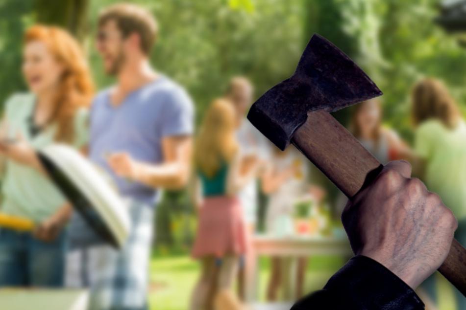 Mann greift Gäste einer Gartenparty mit zwei Äxten an