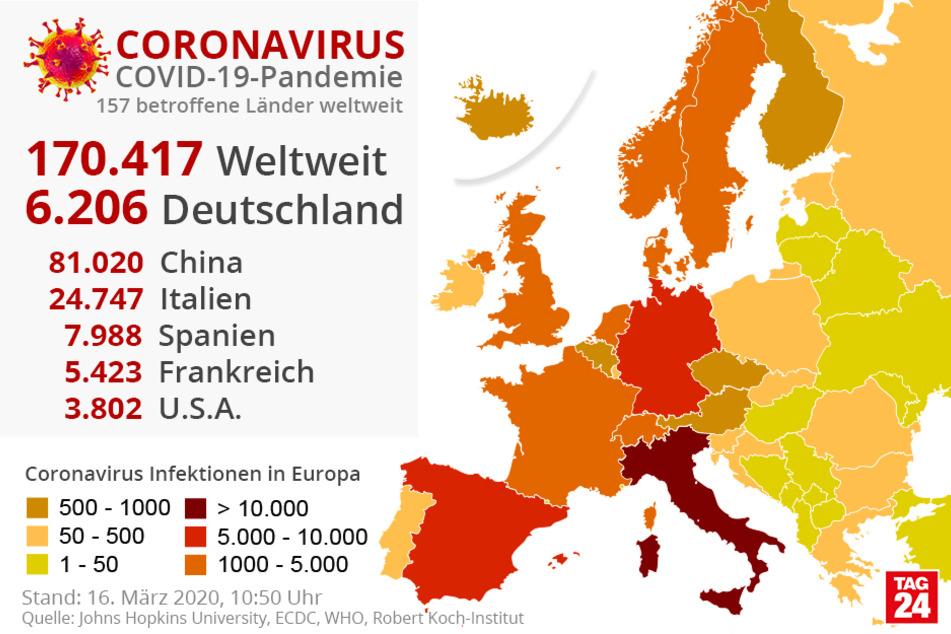 Die Fallzahlen weltweit und in Deutschland.
