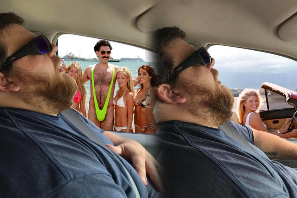 Nate ist im Auto eingeschlafen und seine Frau machte sich einen Spaß daraus.