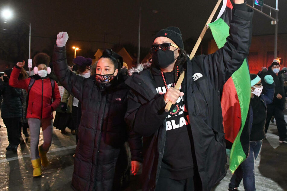Jacob Blake's uncle, Justin, leads a group of protesters after the January 5 decision not to prosecute Rusten Sheskey.