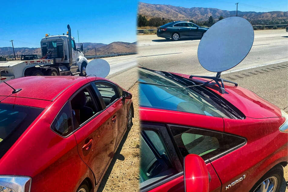 Driver pulled over on highway for Starlink internet dish bolted to the front of his car
