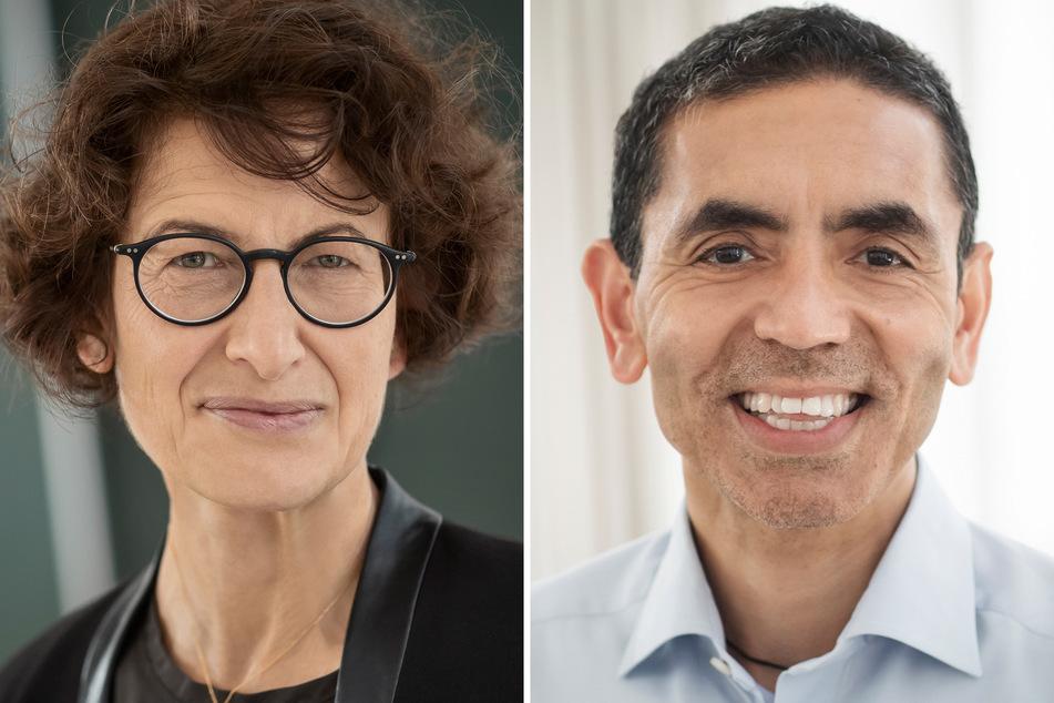 Ugur Sahin (r), Vorstandsvorsitzender von Biontech, und seine Frau Özlem Türeci, medizinische Geschäftsführerin von Biontech, können sich freuen: Der Biontech/Pfizer-Impfstoff wurde erstmals zugelassen.