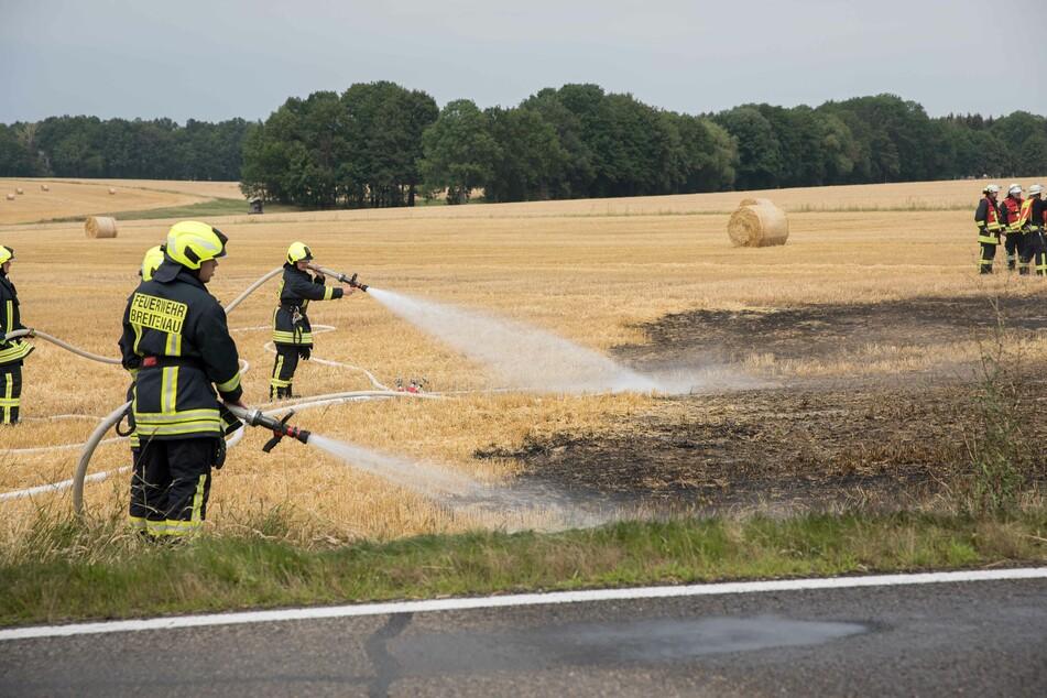 An der B173 bei Memmendorf brannte am Sonntagmittag ein Feld.