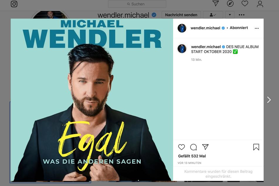 Auf Instagram teilte Michael Wendler das Cover des kommenden Albums am gestrigen Mittwochabend.